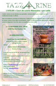 Cours de cuisine Marocaine @ Association Tazzarine | Plan-les-Ouates | Geneva | Switzerland