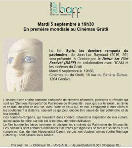 Première mondiale : film Syrie, les derniers remparts du patrimoine, de Jean-Luc Raynaud (2016, 55') @ Cinémas du Grütli, | Genève | Genève | Switzerland