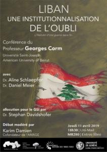Georges Corm - Liban: une Institutionnalisation de l'oubli @ Université de Genève - UniMail salle MR280