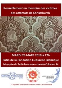 Recueillement en mémoire des vicitimes des attentats de Christchurch @ Fondation culturelle islamique