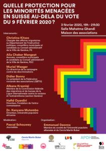 QUELLE PROTECTION POUR LES MINORITÉS MENACÉES EN SUISSE AU-DELA DU VOTE DU 9 FÉVRIER 2020 ? @ Salle Mahatma Ghandi Maison des associations | Genève | Genève | Switzerland