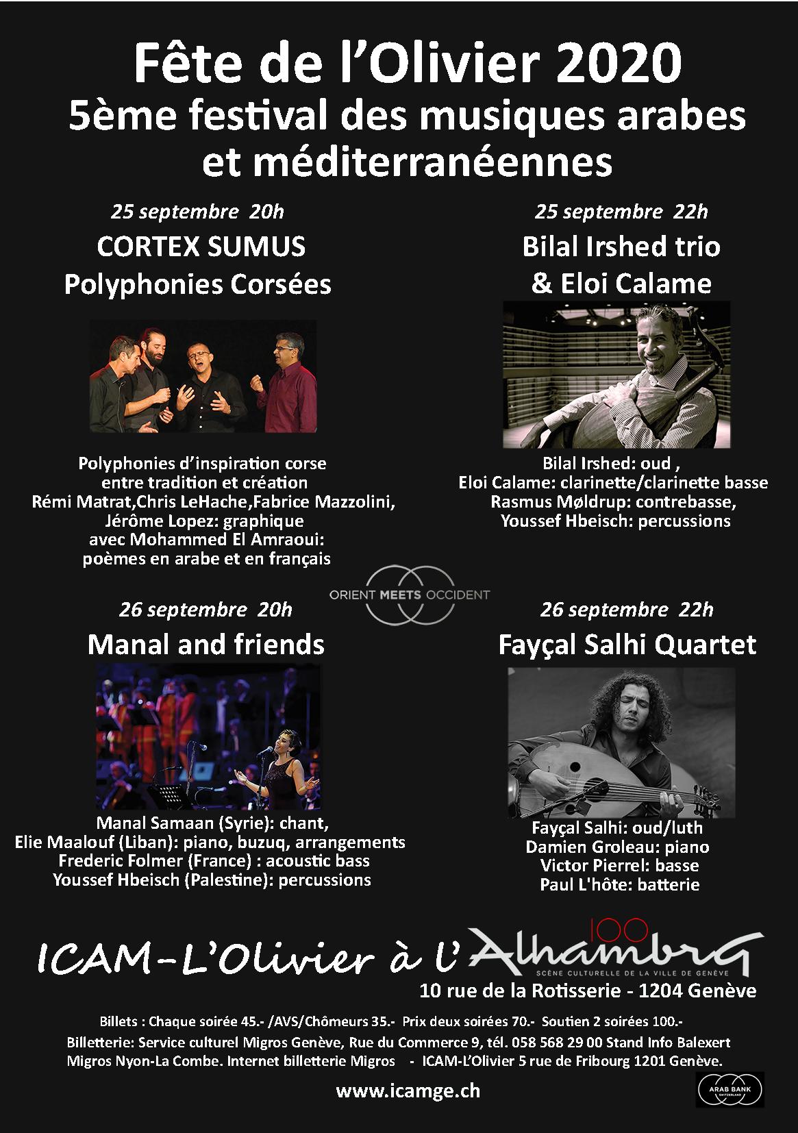 Fête de l'Olivier 2020 - 5ème Festival des musiques arabes et méditerranéennes @ Alhambra - Genève | Genève | Genève | Switzerland